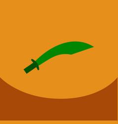 flat icon on blue square arabic khanjar vector image