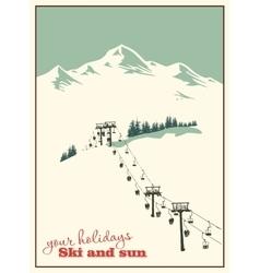 Mountain landscape ski lift vector
