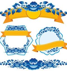 Vintage orange ribbon and blue flowers design vector image vector image