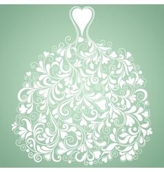 White wedding dress vintage silhouette vector image vector image