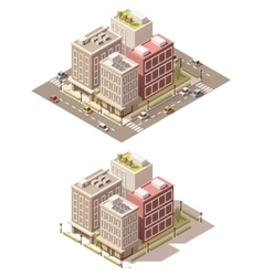 isometric low poly town street vector image vector image