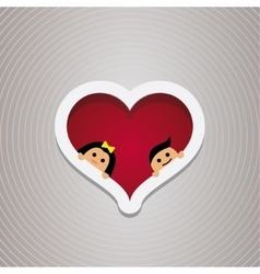 Loving couple in the hear frame For wedding and vector image vector image