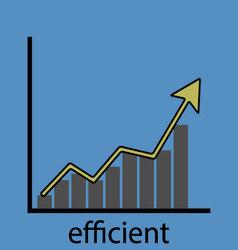 Rising efficiency graph icon vector image