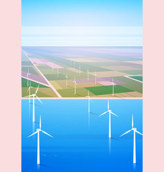 Wind turbine energy renewable water station field vector