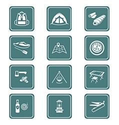 Camping set - TEAL series vector image