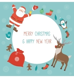 Christmas card with santa claus and friends vector