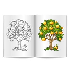 fruit tree drawn on the book vector image vector image