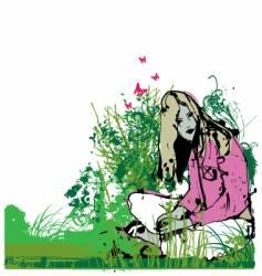 girl in garden vector image vector image