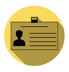 Identification card sign flat black icon vector