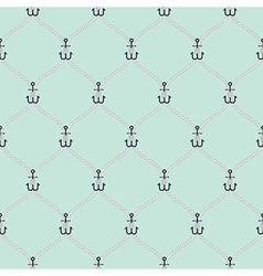 Nautical rope and small anchors seamless fishnet vector