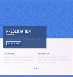 presentation concept with thin line icons vector image