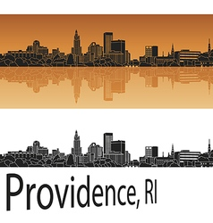 Providence skyline in orange vector image vector image