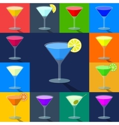 Set of flat colored cocktails in transparent vector image