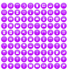 100 interior icons set purple vector