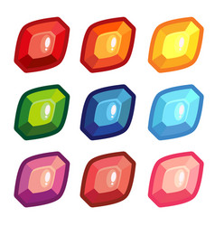 a set of colored sheet shape gems vector image