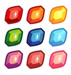 a set of colored sheet shape gems vector image