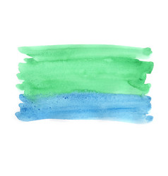 Abstract green and blue watercolor painting vector