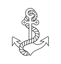 Anchor with rope outlined vector
