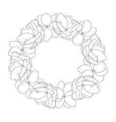 Arabian jasmine outline wreath vector