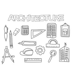 architecture elements hand drawn set vector image