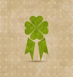 Award ribbon with four-leaf clover for st patricks vector