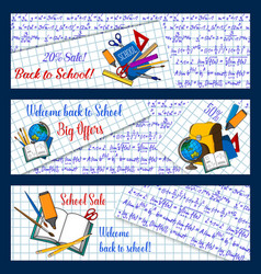 Back to school stationery sale banners vector