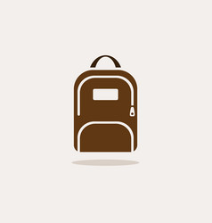 backpack icon with shadow on beige background vector image