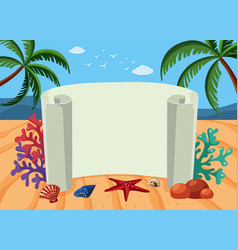 Banner template with beach background vector