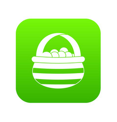 basket with cranberries icon digital green vector image