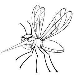 Black and white mosquito cartoon character vector