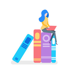 Books in colorful cover woman with laptop vector