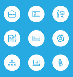 business icons line style set with identification vector image