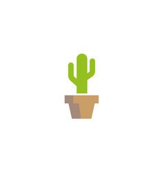 cactus tree in pot flower vase logo design vector image