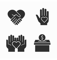 charity and volunteer icons set for graphic vector image