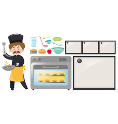 Chef and kitchen equipment set vector