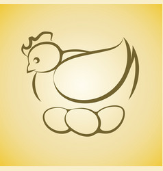chicken hen sitting on three eggs vector image