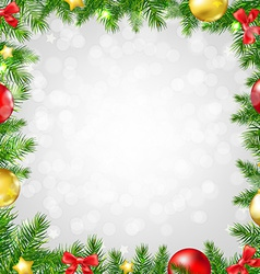 Christmas Fir Tree Border With Bokeh vector image
