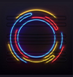 Circle neon lights frame colorful round tube lamp vector