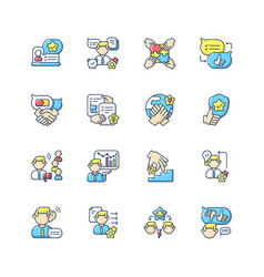 Communication skills rgb color icons set vector