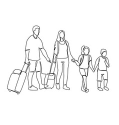 continuous line parents with children travelling vector image