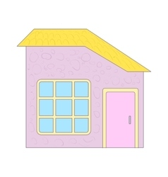 Cottage with yellow roof and big window icon vector image