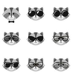 Cute cartoon raccoons with sunglasses vector