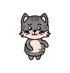 cute cat wild animal with face expression vector image