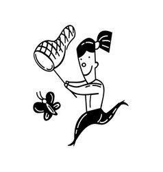 Cute little girl catching butterfly outlined vector