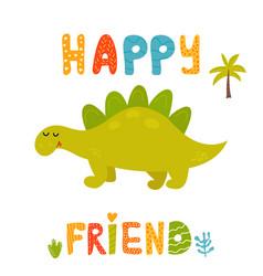 cute stegosaurus dinosaur and hand drawn text vector image