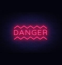 danger neon text danger neon sign design vector image