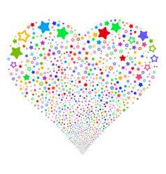 Decoration stars fireworks heart vector