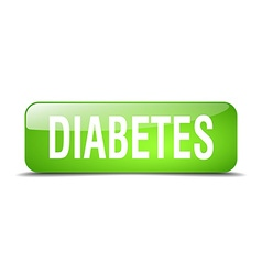 Diabetes green square 3d realistic isolated web vector