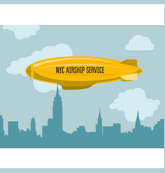 dirigible over city - zeppelin with advertising vector image