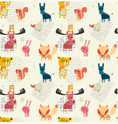 Doodle outline cute wild animal pattern seamless vector